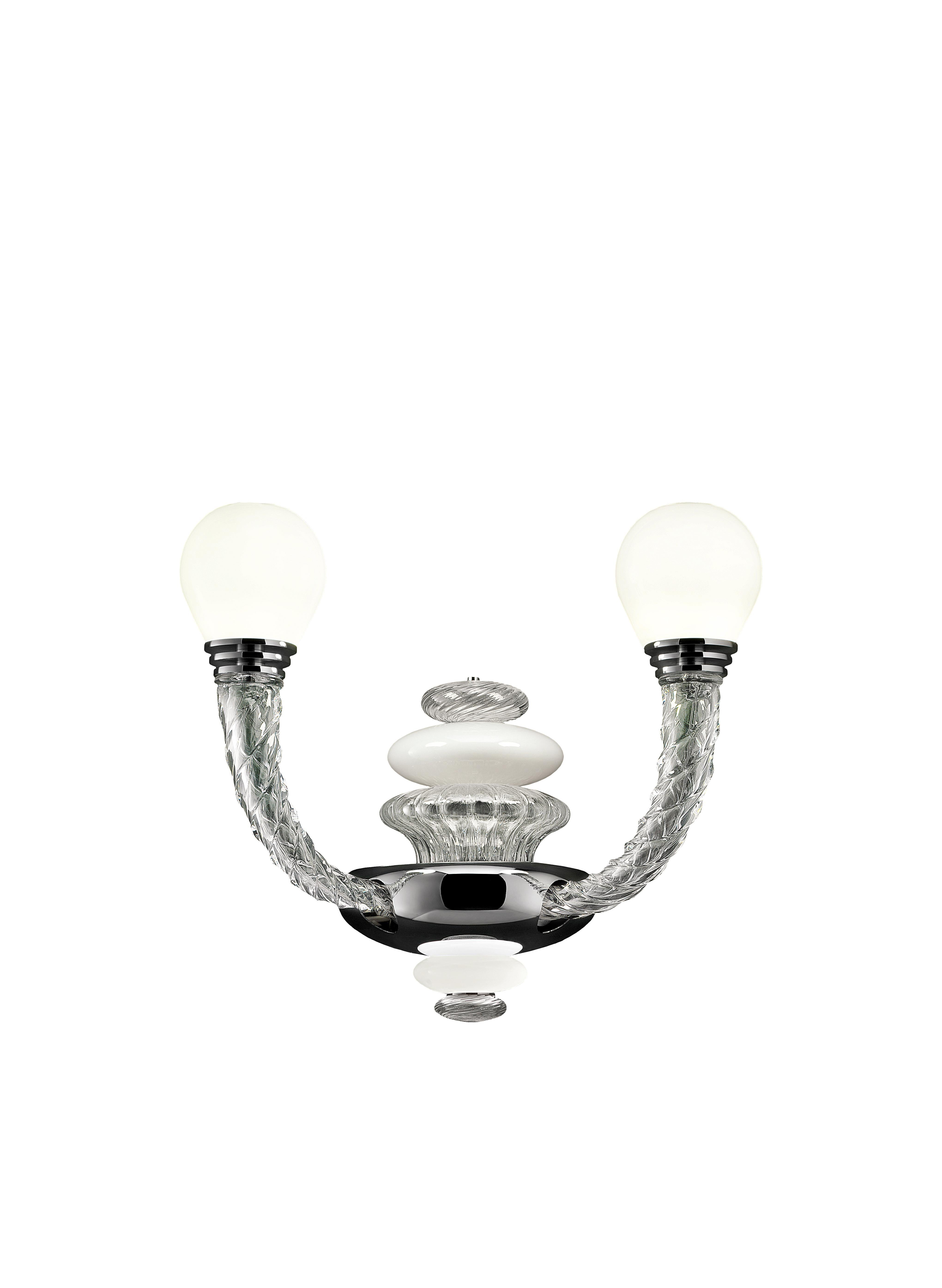 Pigalle 5680 02 Wall Sconce in White/Crystal Glass, by Barovier&Toso