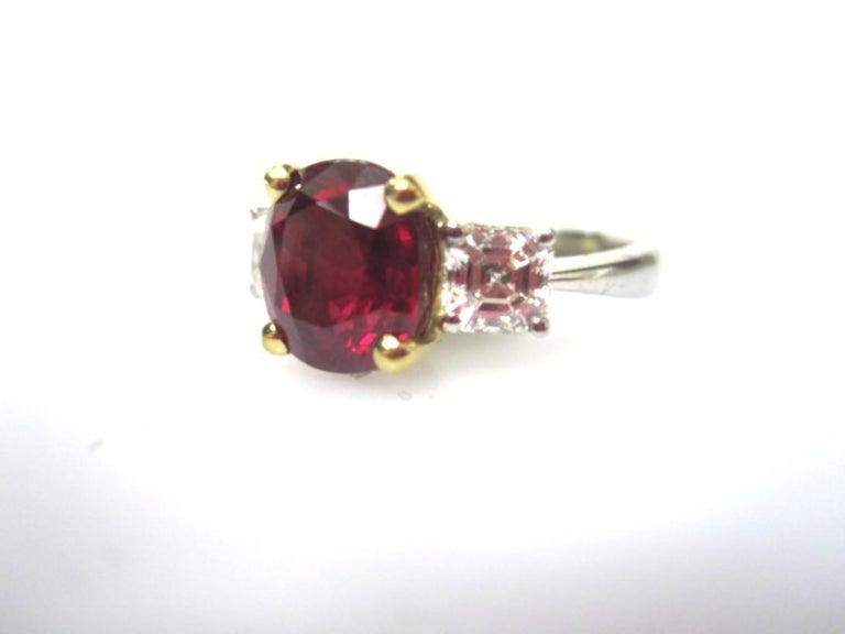 Artisan 4.00 Carat Pigeon's Blood Burma Ruby Diamond Platinum & 18k Gold Engagement Ring For Sale