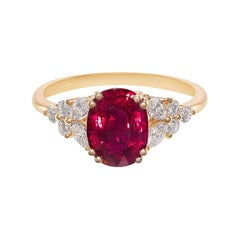 Pigeon Blood Oval Shape Ruby and Marquise Diamonds Engagement Ring Yellow Gold