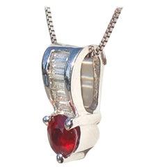 Pigeon Blood Ruby and Baguette Diamond, 18 Karat Pendant 1.00 Carat Total