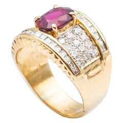 Pigeon Blood Ruby Diamond Paving Ring in 18 Karat Yellow Gold