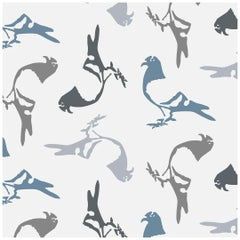 Pigeon Designer Wallpaper in Slate 'Cool Grays, Blue and Charcoal on Pale Grey'
