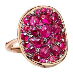 Pigeon's Blood Red Ruby, Red Spinel and Diamond Pave Ring