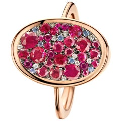 Pigeon's Blood Red Ruby Red Spinel Sapphire White Diamond Mosaic Pave Ring