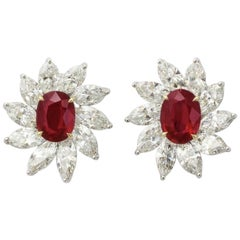 Pigeon's Blood Ruby Diamond Earrings