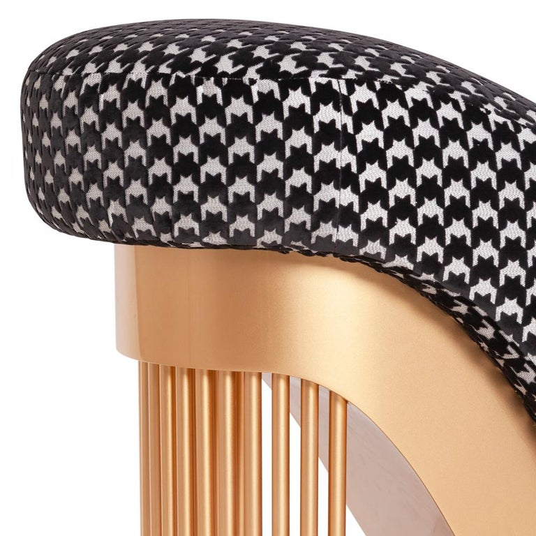 Bronze Pike Heels Long Chair with Black and White Fabric For Sale
