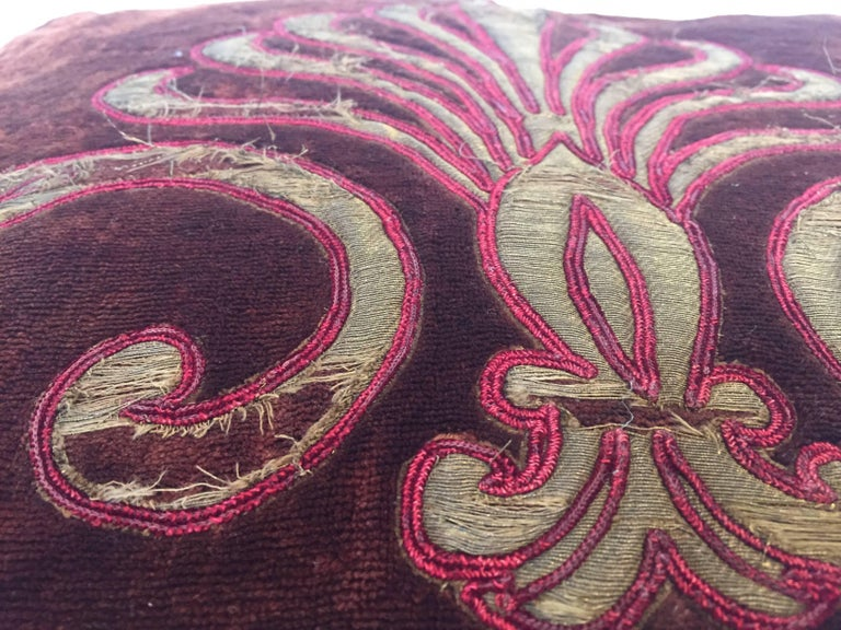 19th Century Silk Velvet Antique Textile Fragment Framed into a Pillow For Sale 5