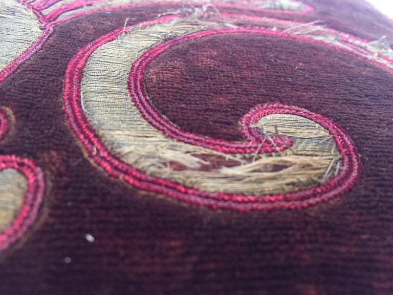19th Century Silk Velvet Antique Textile Fragment Framed into a Pillow For Sale 7