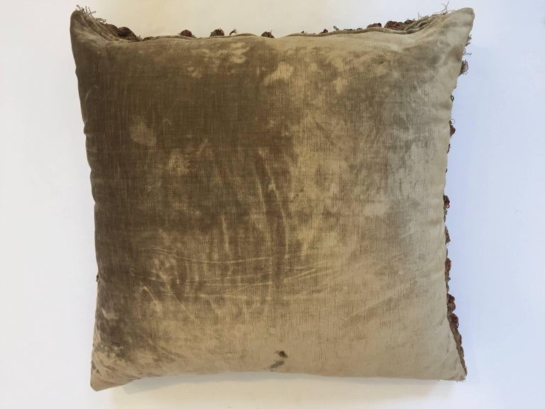 19th Century Silk Velvet Antique Textile Fragment Framed into a Pillow For Sale 9