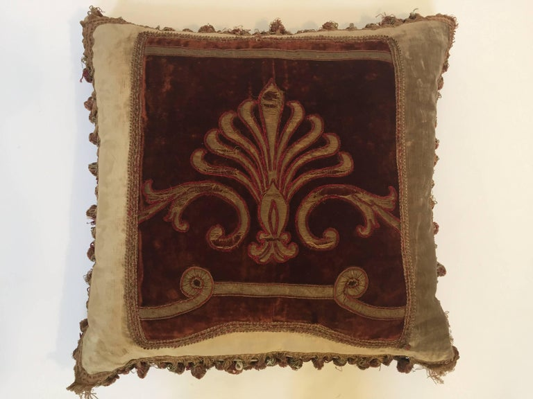 19th Century Silk Velvet Antique Textile Fragment Framed into a Pillow For Sale 10