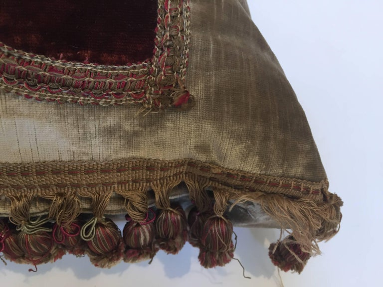 Baroque 19th Century Silk Velvet Antique Textile Fragment Framed into a Pillow For Sale