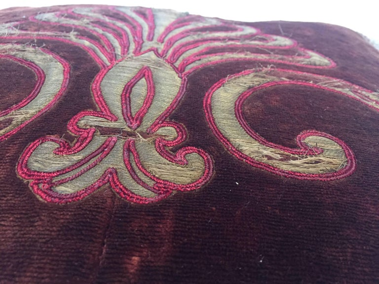 Embroidered 19th Century Silk Velvet Antique Textile Fragment Framed into a Pillow For Sale