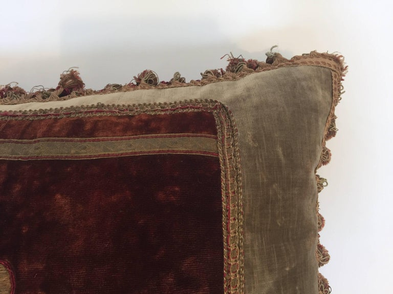 19th Century Silk Velvet Antique Textile Fragment Framed into a Pillow For Sale 2