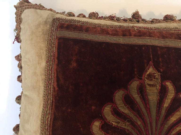 19th Century Silk Velvet Antique Textile Fragment Framed into a Pillow For Sale 3