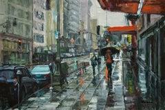 """Rain Walker"" Contemporary Impressionist Scene of San Francisco"