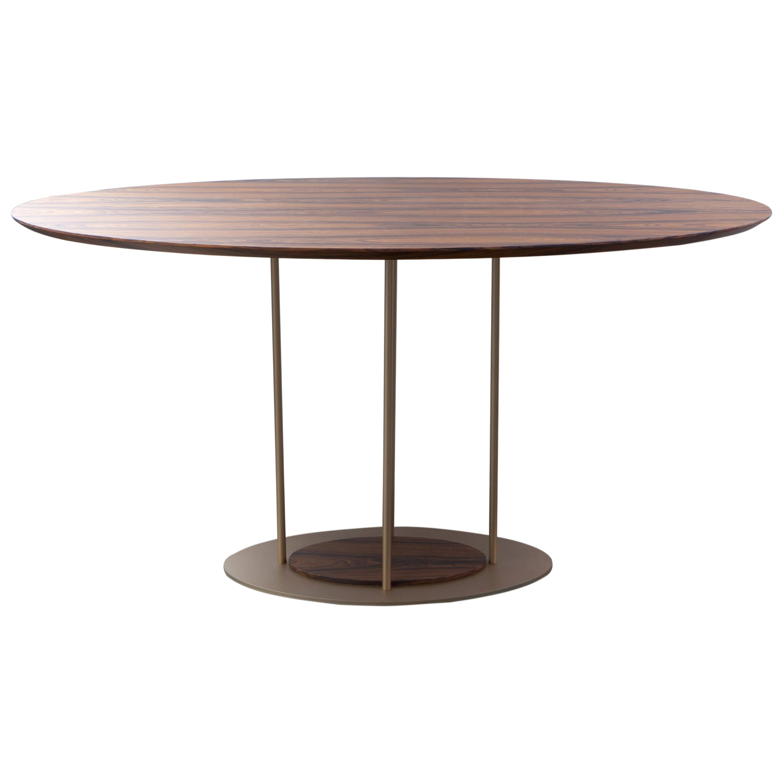 """Pilar"" Modernist Round Dining Table Golden Steel and Pau Ferro Brazilian Wood"