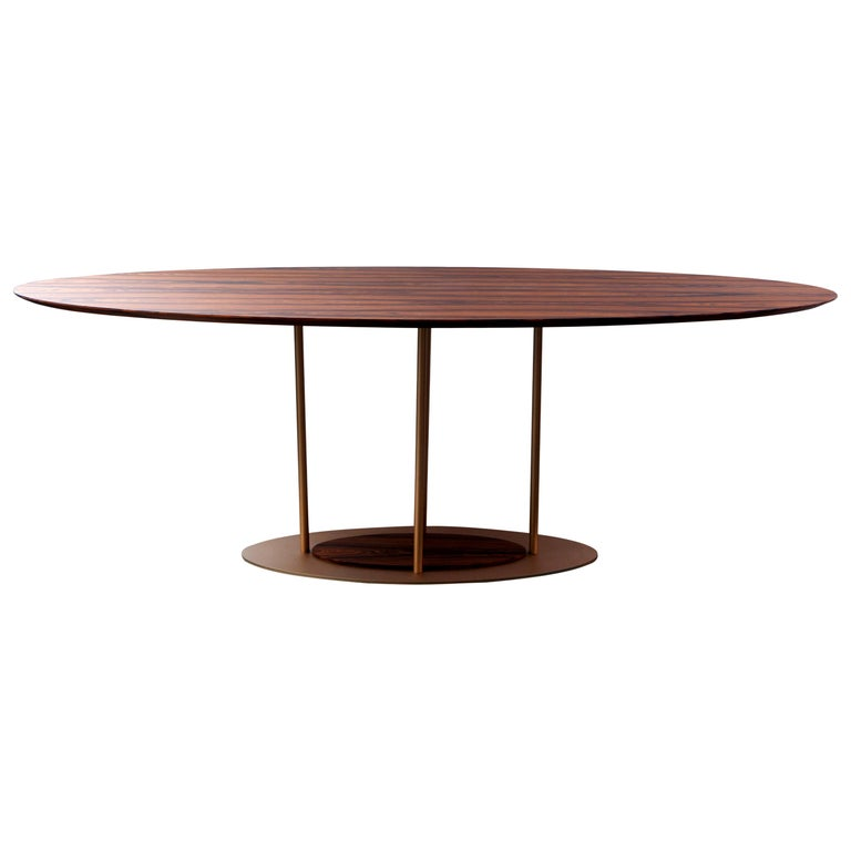 """Pilar"" Modernist Style Dining Table Golden Steel and Pau Ferro Brazilian Wood For Sale"