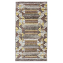 Piled Modern Gallery Scandinavian/Swedish Geometric Design Rug in Earth Tones