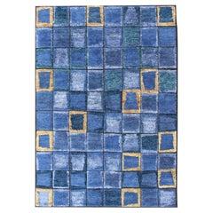 Piled Modern Scandinavian/Swedish with Modern Block Design in Blues Tones