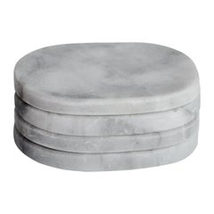 Pill Coasters Set in White Veneciano Marble
