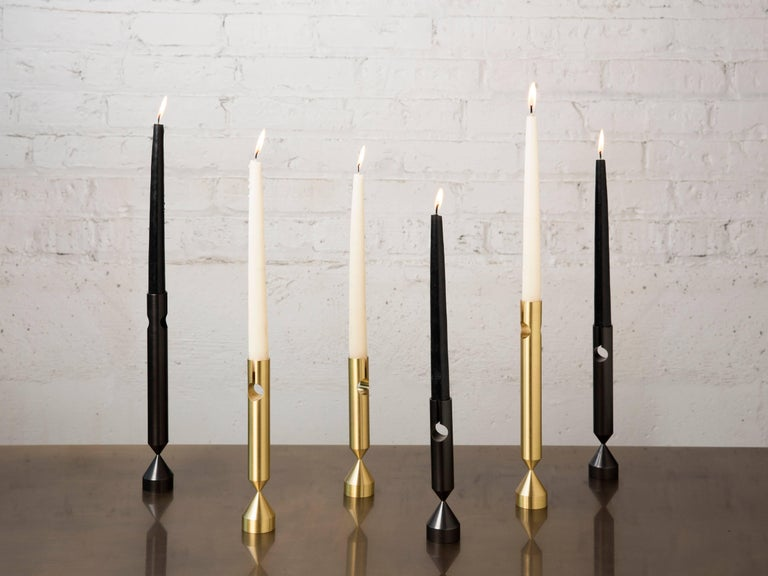 Pillar Candlesticks with Three Sizes, Handcrafted in Chicago In New Condition For Sale In Chicago, IL