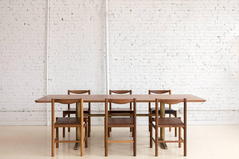 American Pillar Dining Table in Walnut and Brushed Brass by Fort Standard, in Stock For Sale