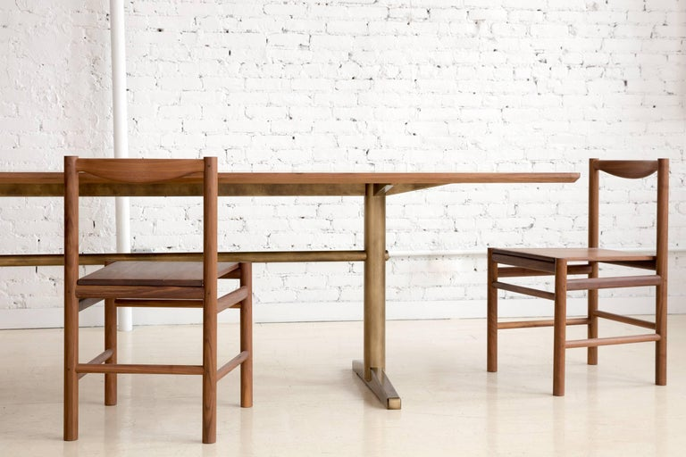 Contemporary Pillar Dining Table in Walnut and Brushed Brass by Fort Standard, in Stock For Sale