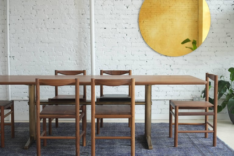 Pillar Dining Table in Walnut and Brushed Brass by Fort Standard, in Stock For Sale 1
