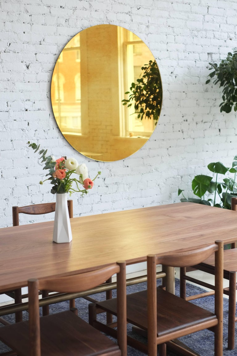 Pillar Dining Table in Walnut and Brushed Brass by Fort Standard, in Stock For Sale 2