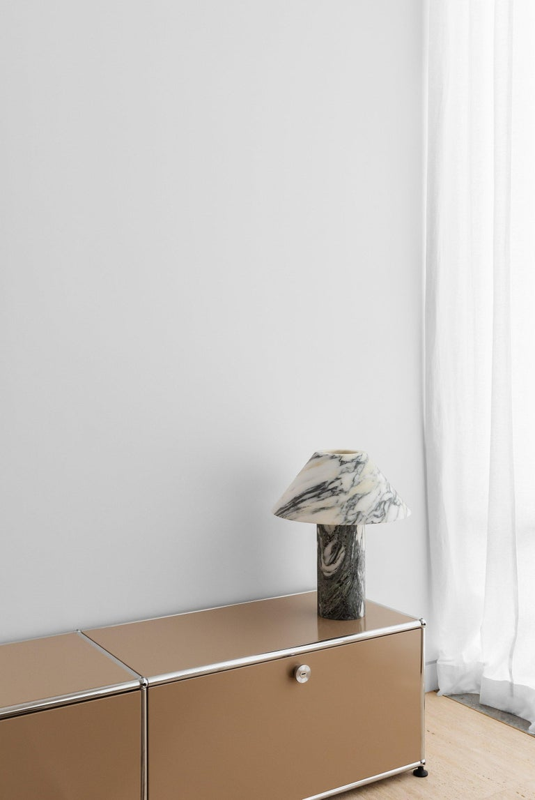 Modern Pillar Lamp in Arabescato Marble by Henry Wilson For Sale