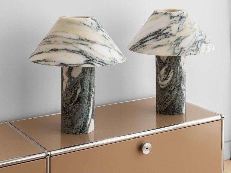 Australian Pillar Lamp in Arabescato Marble by Henry Wilson For Sale