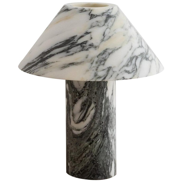 Pillar Lamp in Arabescato Marble by Henry Wilson For Sale