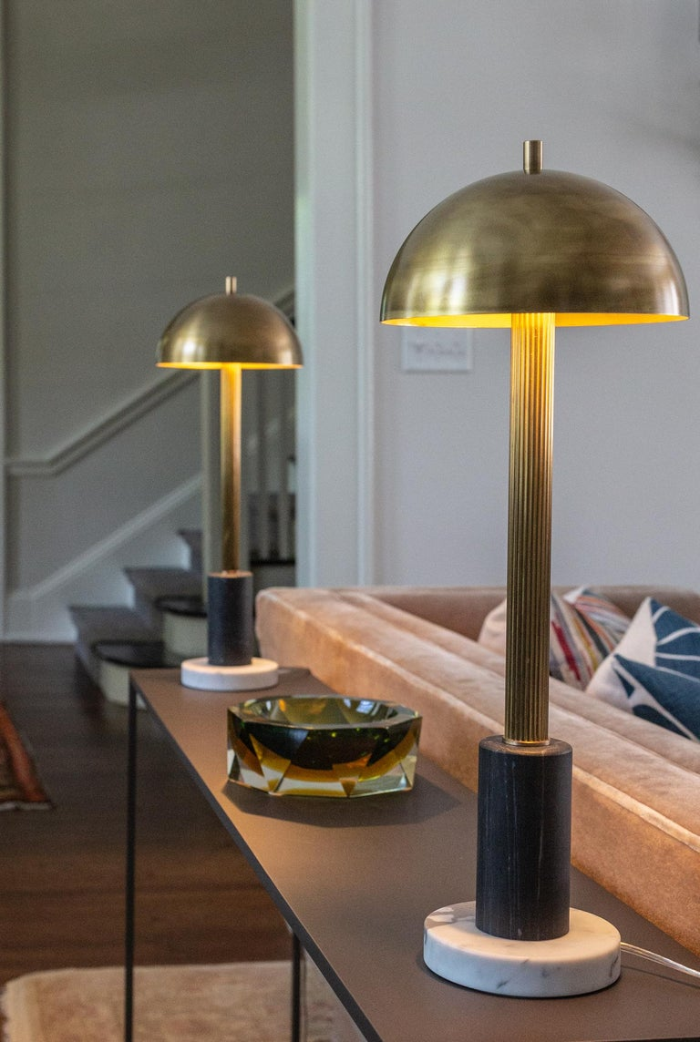 Pillar Table Lamp, Contemporary Lamp, Antique Brass, Marble by Kalin Asenov For Sale 5