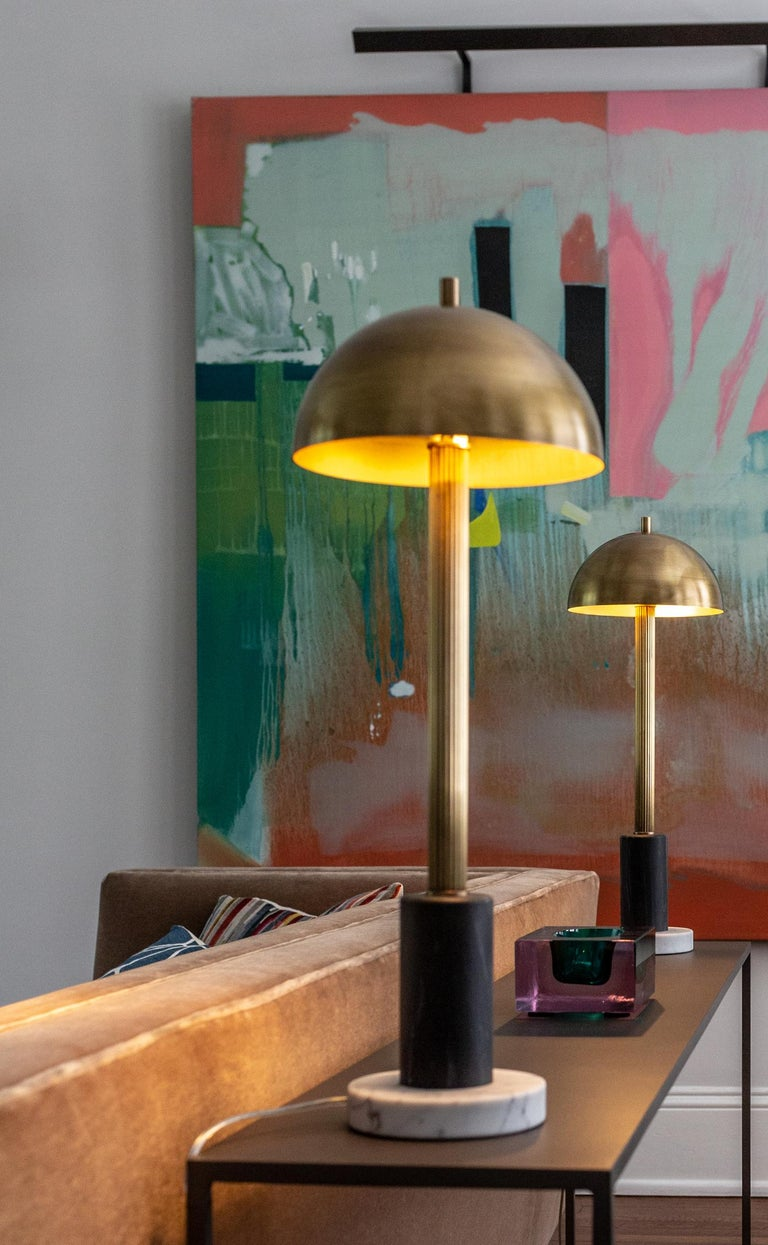 Pillar Table Lamp, Contemporary Lamp, Antique Brass, Marble by Kalin Asenov For Sale 6