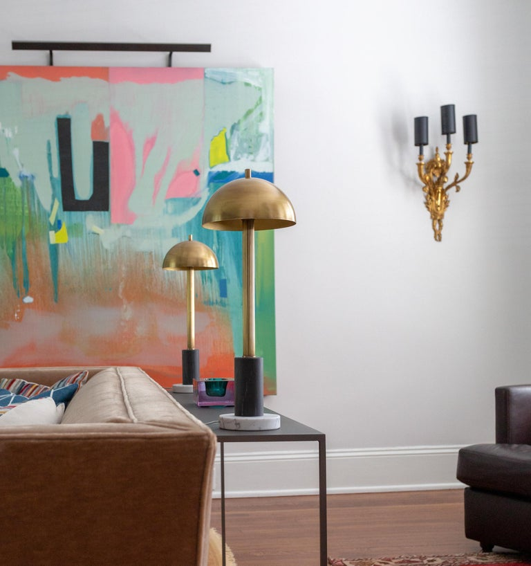 Pillar Table Lamp, Contemporary Lamp, Antique Brass, Marble by Kalin Asenov In New Condition For Sale In Savannah, GA