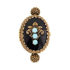 Pillbox Ring Vintage 14k Yellow Gold Onyx Jewelry Opens Secret Compartment