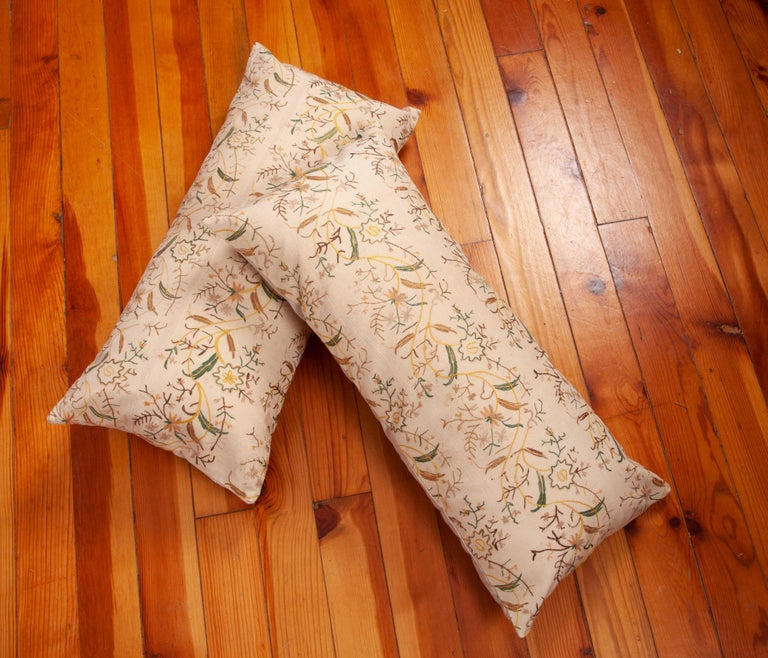Silk Pillow Cases fashioned from a 19th Century Ottoman Embroidery For Sale