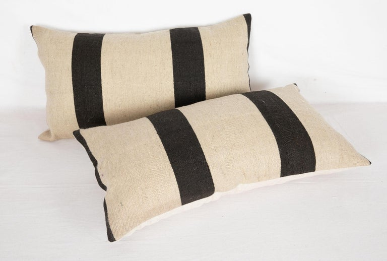 Hand-Woven Pillow Case Fashioned from a Contemporary Wool Weaving For Sale