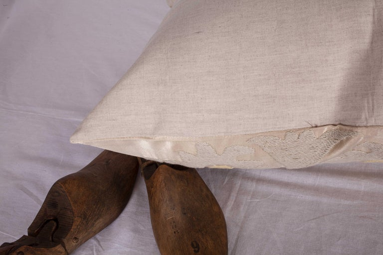 Cotton Pillow Case Fashioned from a Mid-20th Century Suzani from Samarkand Uzbekistan For Sale