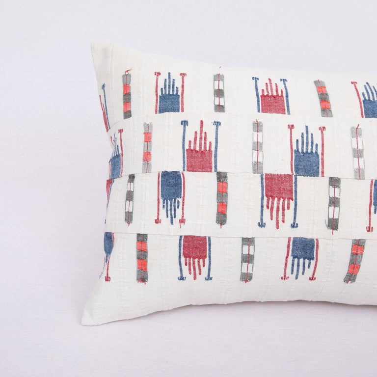 Rustic Pillow Case Fashioned from a Vintage Bulgarian Textile, 1960s For Sale