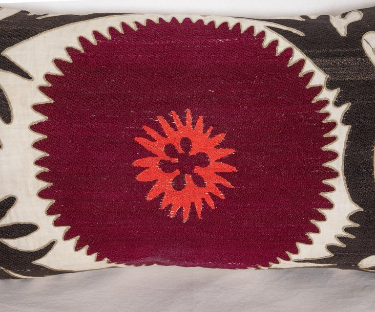 Embroidered Pillow Case Fashioned from an Early 20th Century Uzbek Suzani For Sale