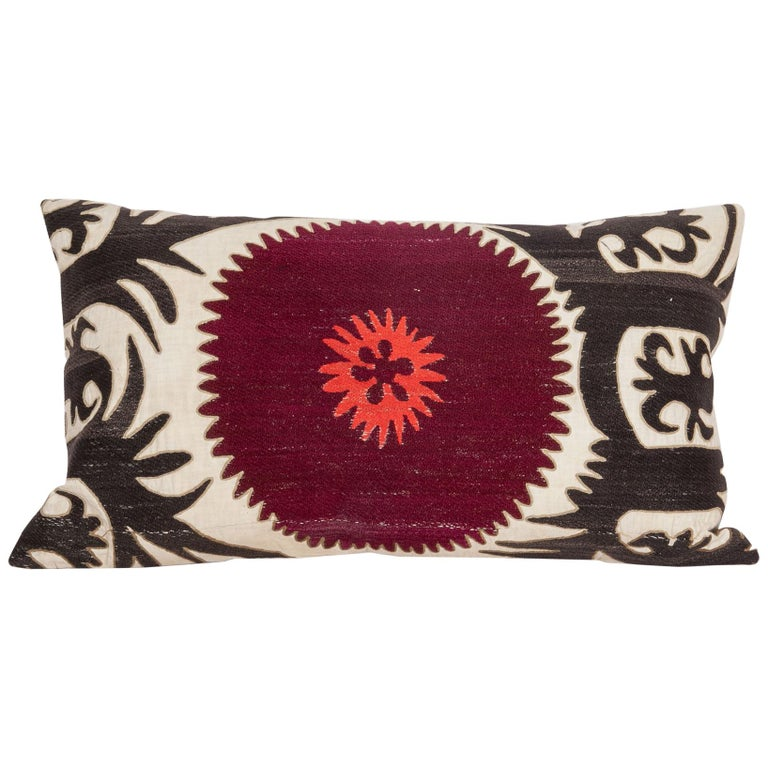 Pillow Case Fashioned from an Early 20th Century Uzbek Suzani For Sale