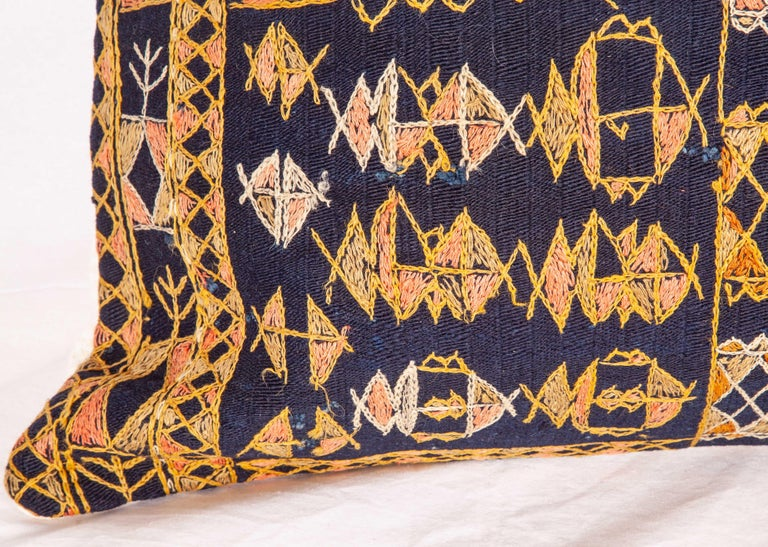 Hand-Woven Pillow Case Fashioned from an Early 20th Century Kurdish Djidjim Kilim For Sale