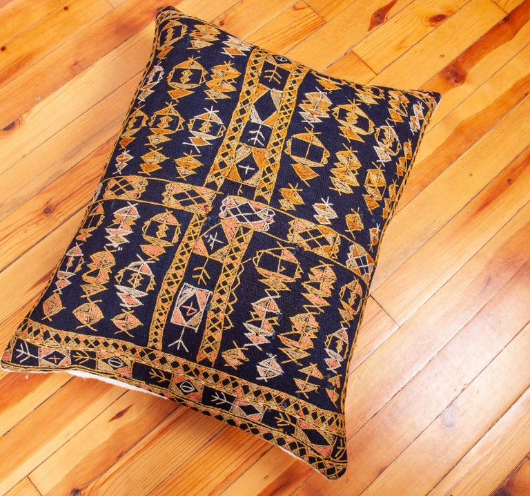 Wool Pillow Case Fashioned from an Early 20th Century Kurdish Djidjim Kilim For Sale