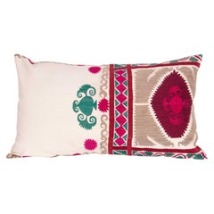 Pillow Case Made from a Vintage Suzani, Uzbekistan, Mid-20th Century