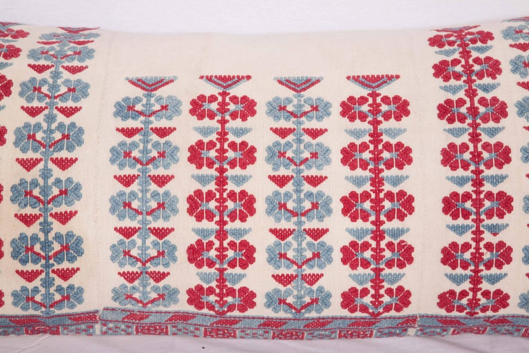 Suzani Pillow Case Made from an Antique Embroidered Western Anatolian Dress Skirt For Sale