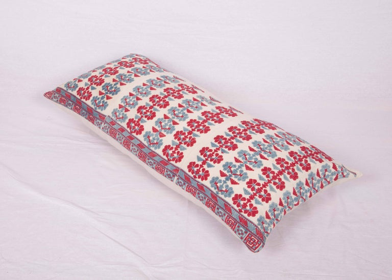 Turkish Pillow Case Made from an Antique Embroidered Western Anatolian Dress Skirt For Sale