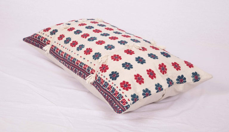 20th Century Pillow Case Made from an Antique Embroidered Western Anatolian Dress Skirt For Sale