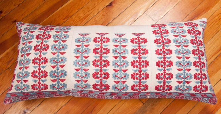 Cotton Pillow Case Made from an Antique Embroidered Western Anatolian Dress Skirt For Sale