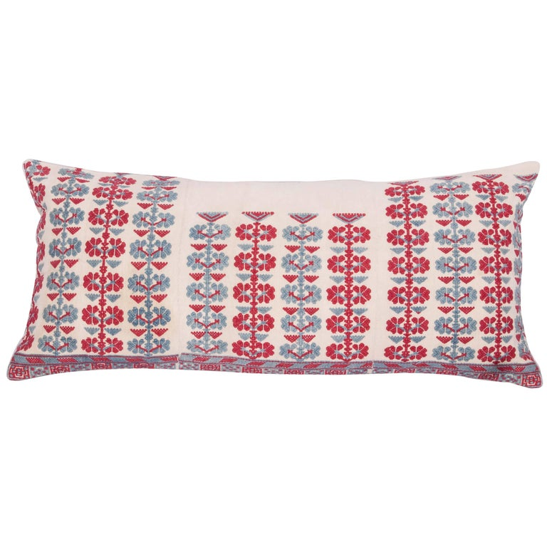 Pillow Case Made from an Antique Embroidered Western Anatolian Dress Skirt For Sale
